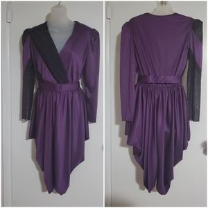 Glenrob 70s purple belted party dress